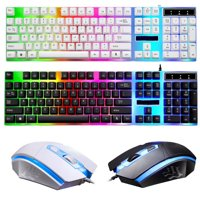 Wired Computer Desktop Gaming Keyboard & Mouse Mechanical Feel Multiple Color Rainbow Led Light Backlit , White