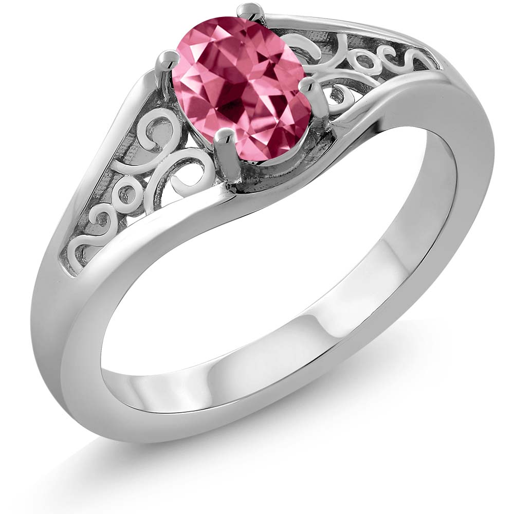 1.00 Ct Pink 925 Sterling Silver Ring Natural Topaz Cut by Swarovski by
