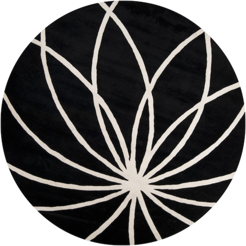 8' Plasma Elektra Contemporary Jet Black and White Wool Round Area Throw Rug