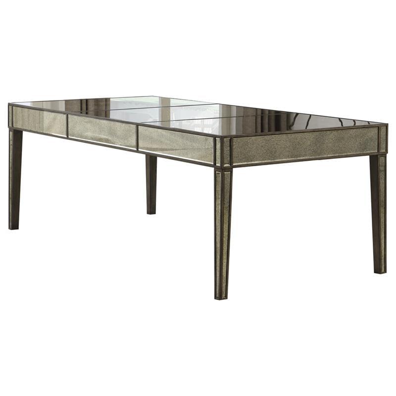 Best Master Solid Wood Rectangular Dining Table In Gray Brown Antique Mirror Walmart Com Walmart Com