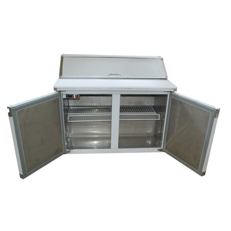 48'' 2-Door Commercial Refrigerated Sandwich Pizza Prep Table Stainless -