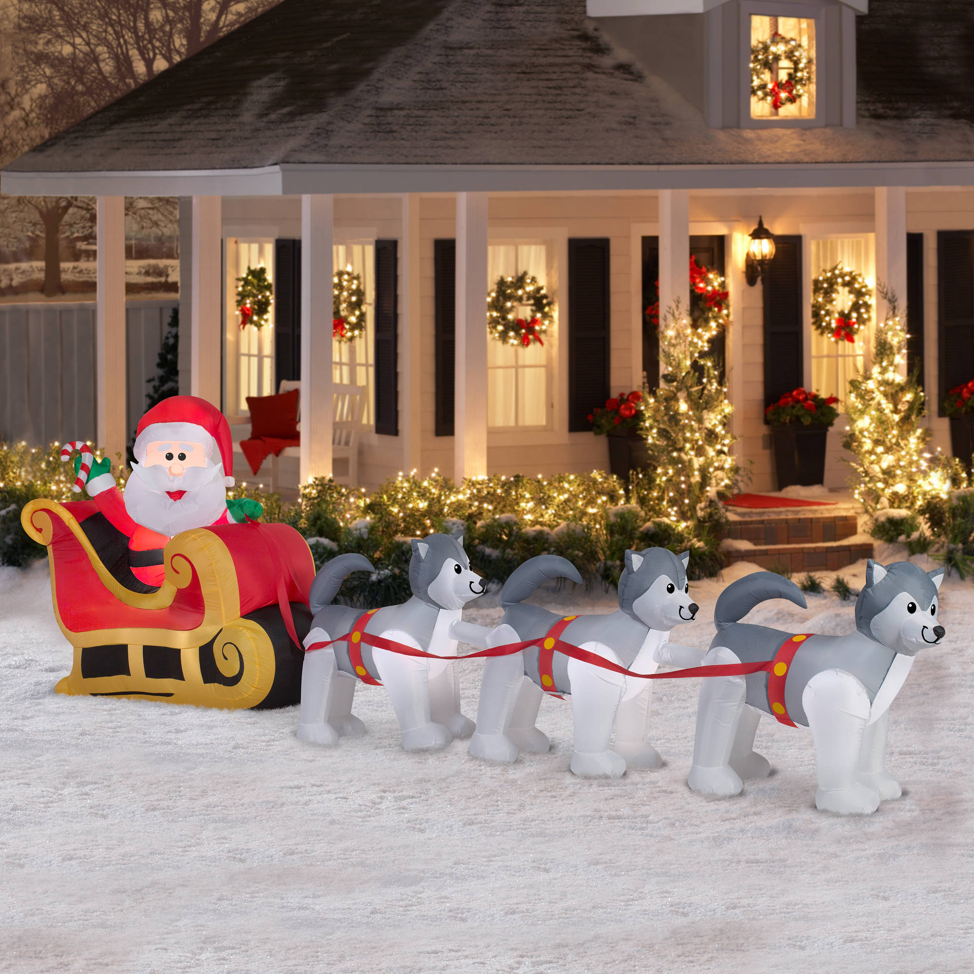 gemmy airblown inflatables christmas inflatable santa and dogsled scene 125 walmartcom