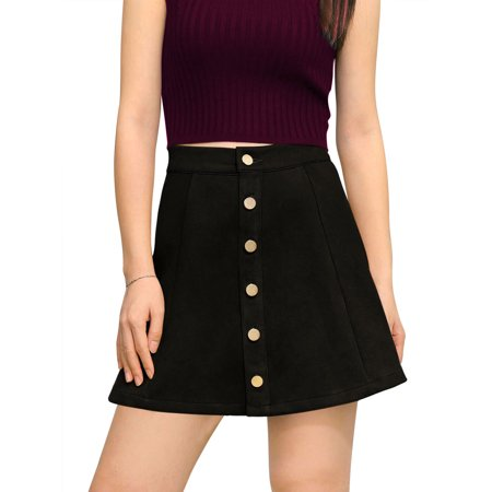 Women Button Closure Front Mid Rise  Casual A-Line Skirt