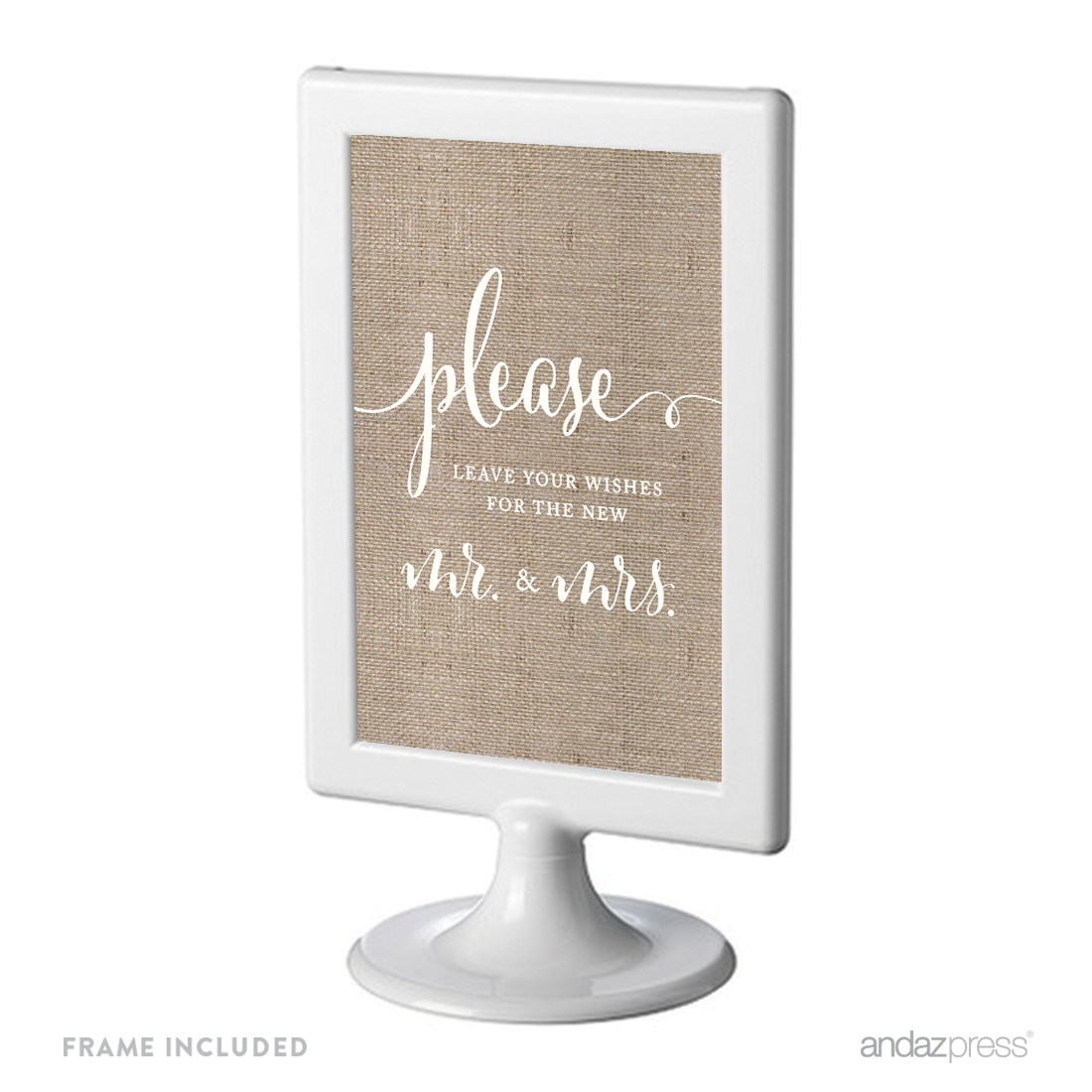 Leave Your Wishes For New Mr. & Mrs. Framed Burlap Wedding Party Signs