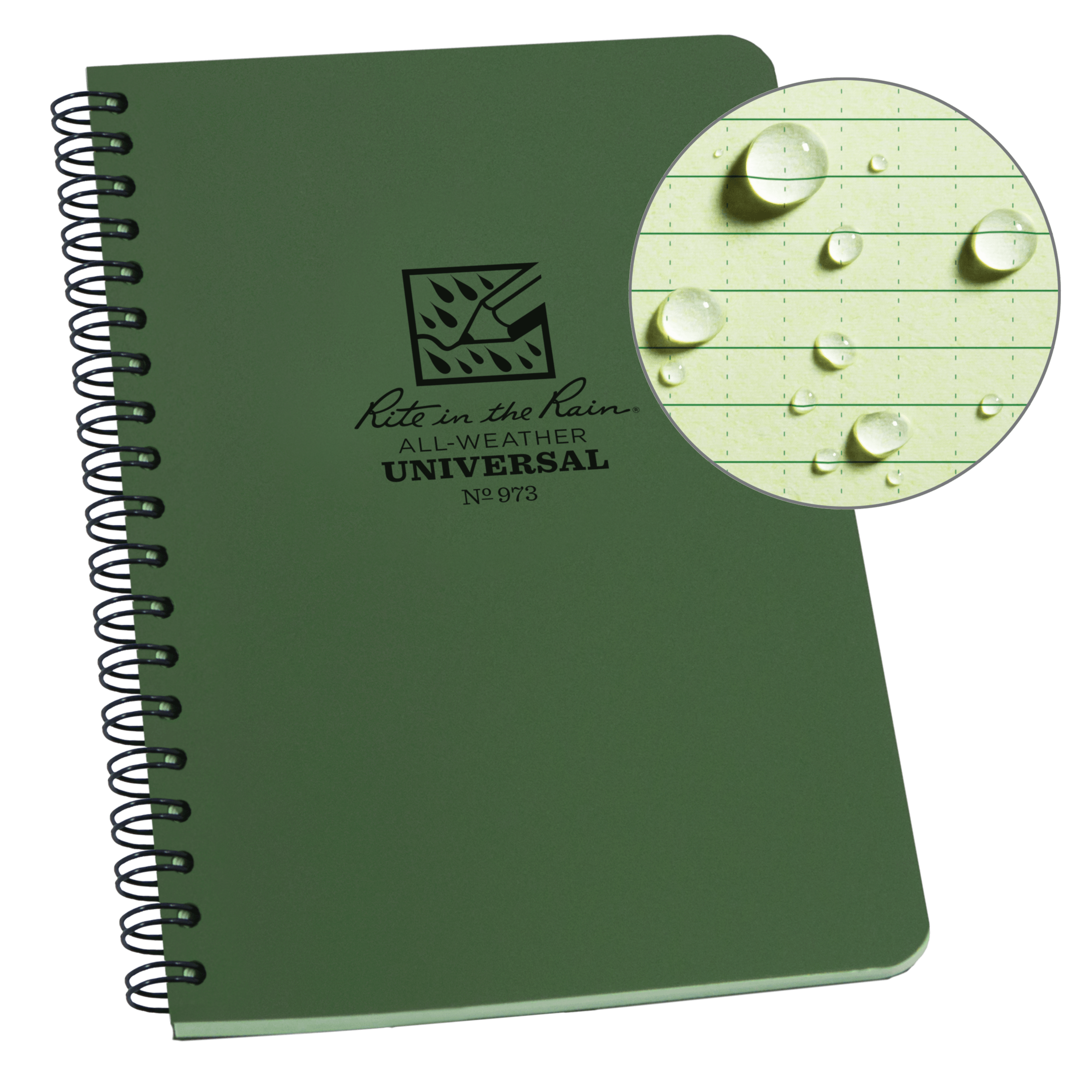"Rite in the Rain All-Weather Side-Spiral Notebook, 4 5/8"" x 7"", Green Cover, Universal Pattern (No. 973)"