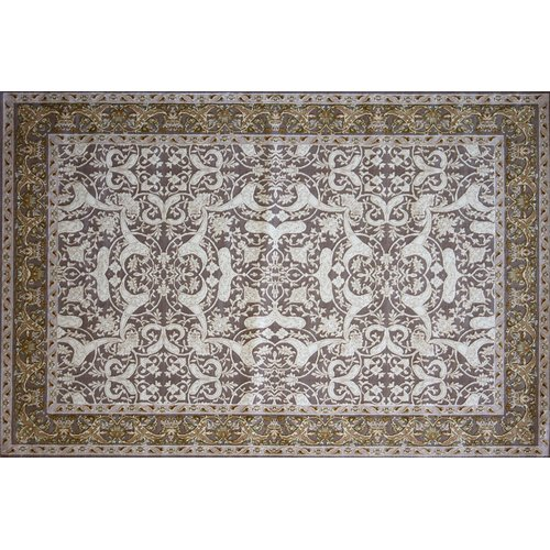 Astoria Grand Gros Hand Look Persian Wool Ivory/Brown/Blue Area Rug
