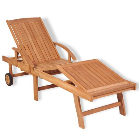 Outdoor Chaise Lounge with 2 Wheels and Pull-out Table for Easy Movement Folding Recliner 5 Adjustable Position Lounge Chair ()