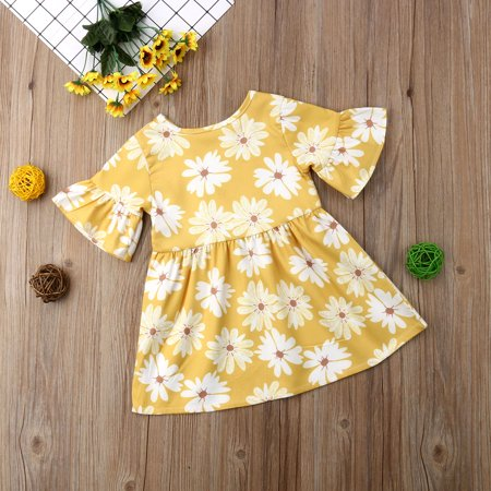 1Pc Toddler Baby Girl Flare Short Sleeve Floral Printed Yellow Casual Dress Outfit](Casual Dresses Girls)