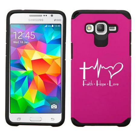 For Samsung Galaxy Core Prime Shockproof Impact Hard Soft Case Cover Faith Hope Love EKG Christian (Fuchsia)