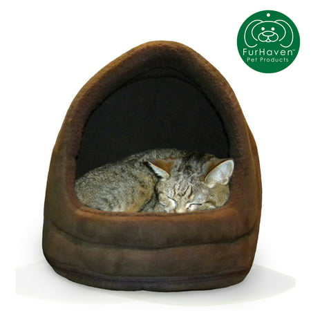 FurHaven Pet Hood Bed | Terry & Suede Hood Pet Bed for Dogs & Cats, Espresso, One-Size Suede Bone Bed Cover