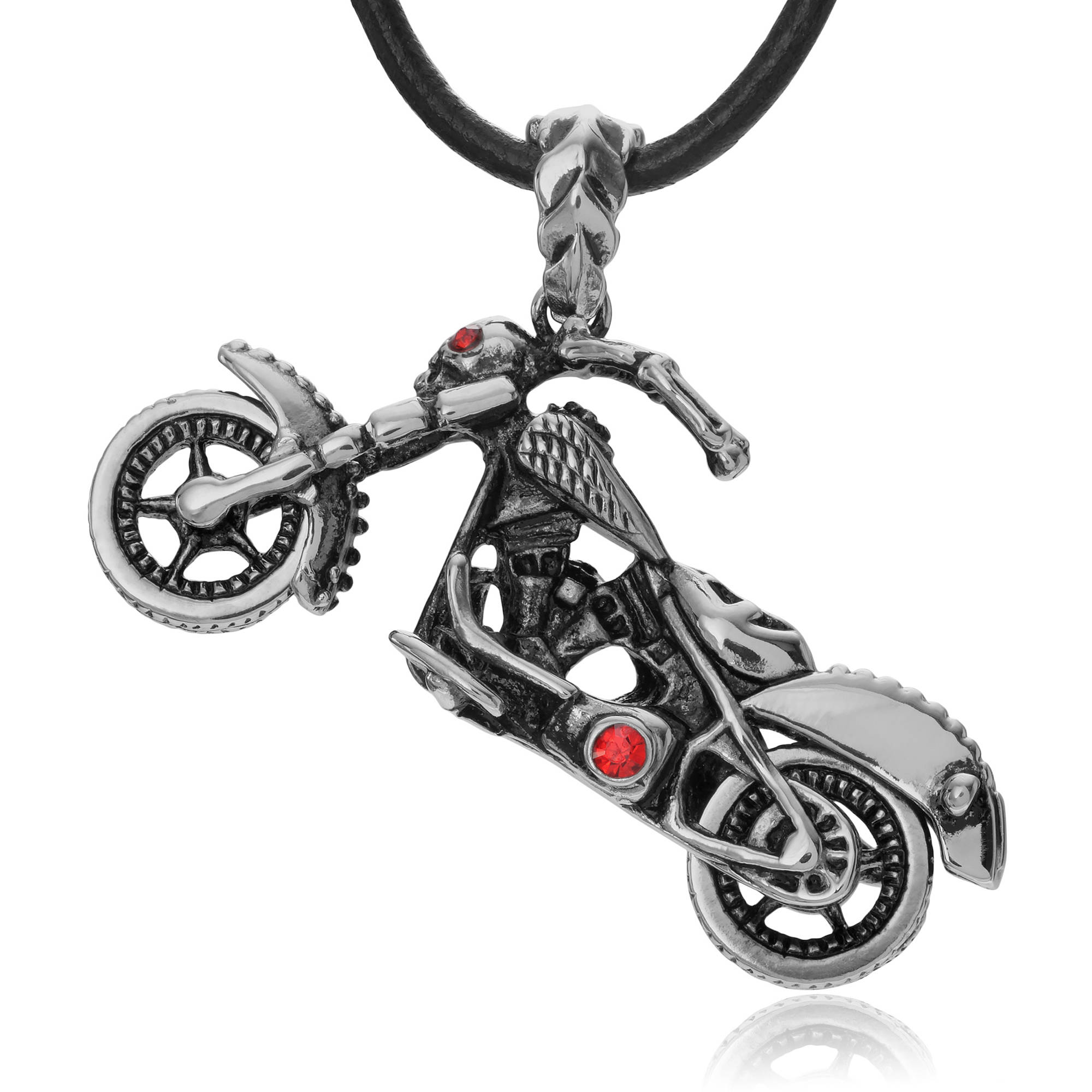 Daxx Men's CZ Stainless Steel Skull Motorcycle Pendant Fashion Necklace, 18""