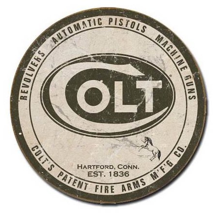 Colt - Round Logo Tin Sign , 11x11 Multi-Colored