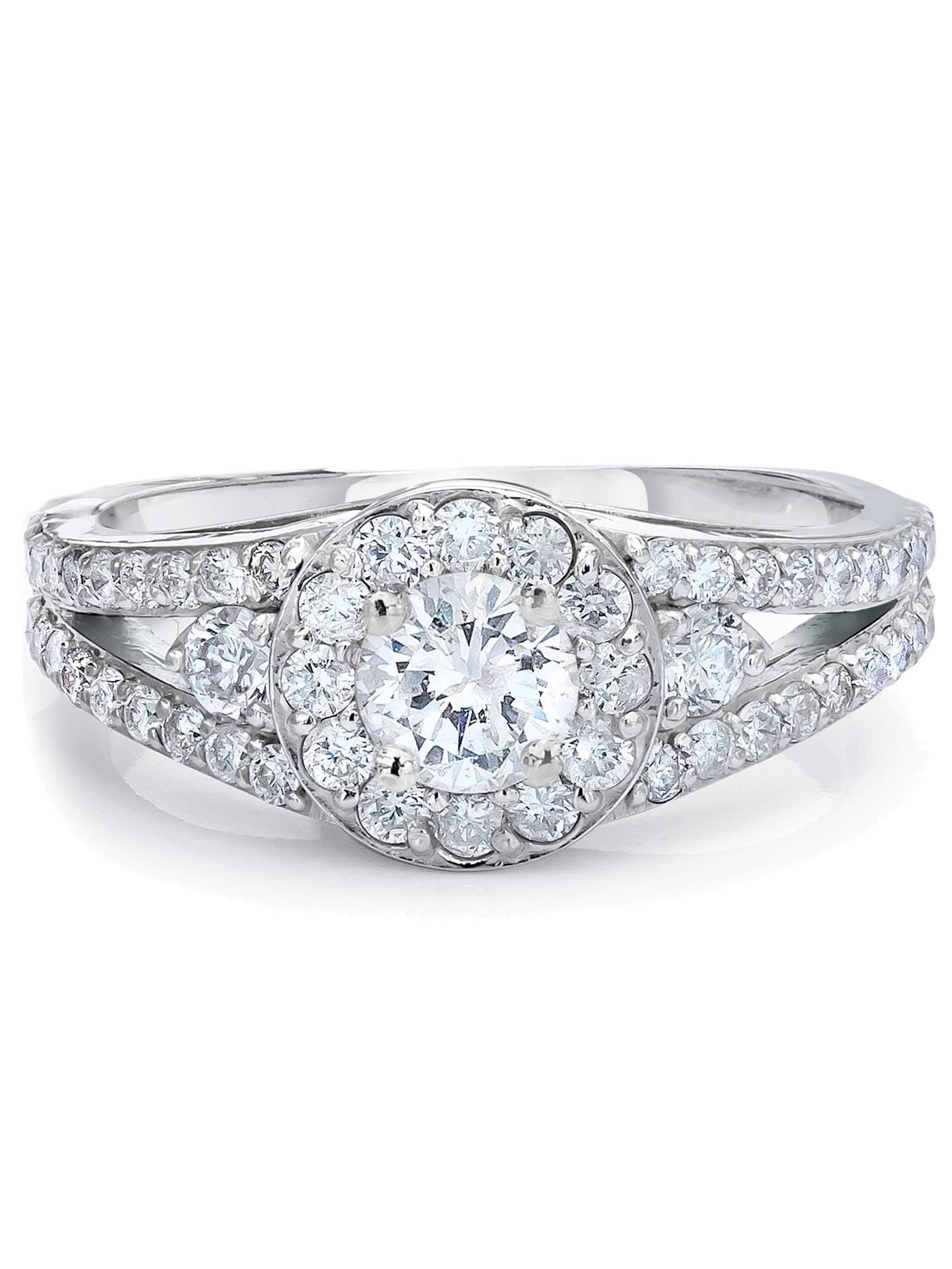 3 4ct Halo Diamond Engagement Ring 14K White gold Vintage Split Shank by Pompeii3