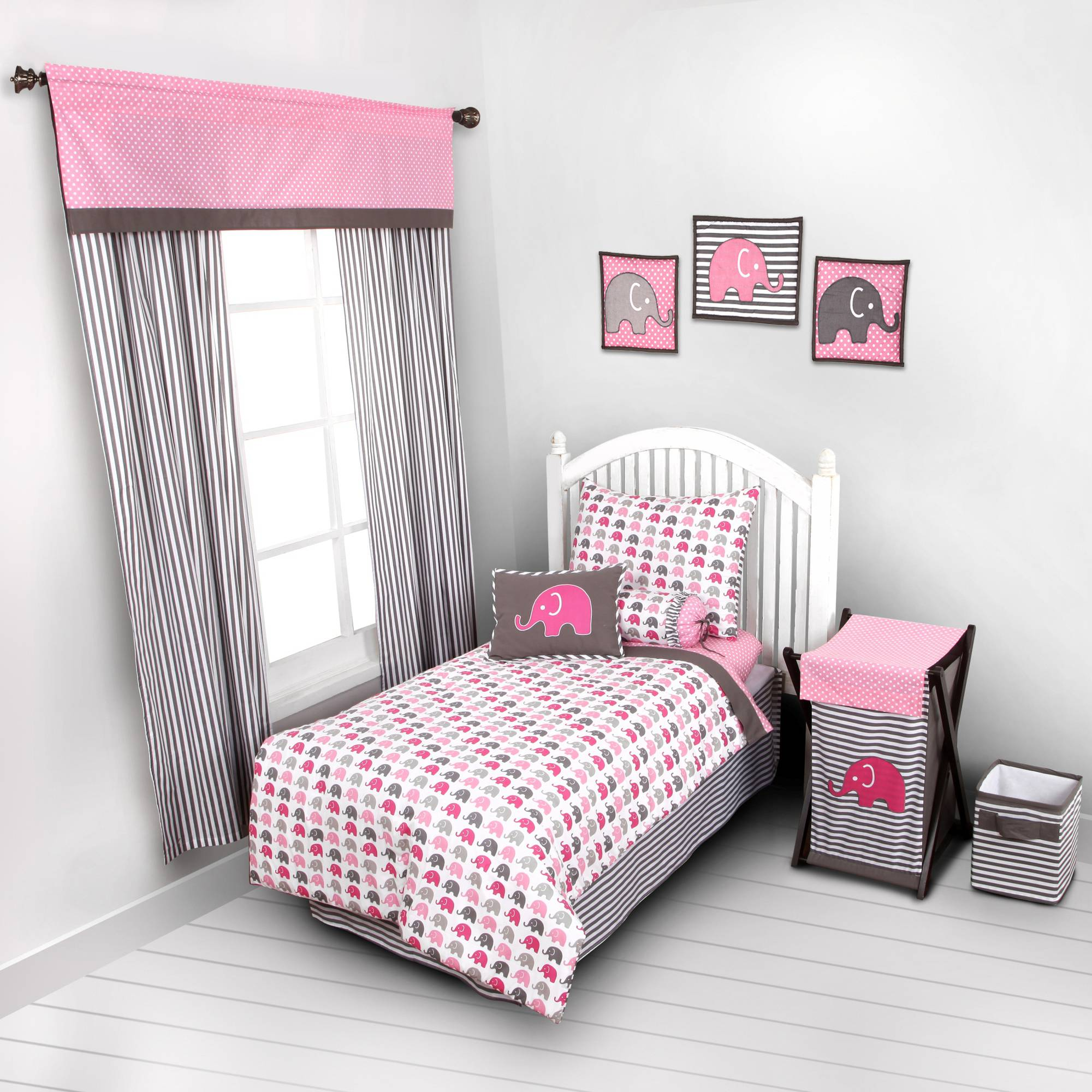 Bacati - Elephants 4-Piece Toddler Bedding set 100% Cotton percale,  Pink/Gray