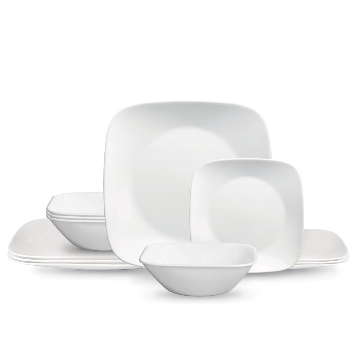 Buy Corelle® Classic Pure White, Square, 20 Piece, Dinnerware Set ...