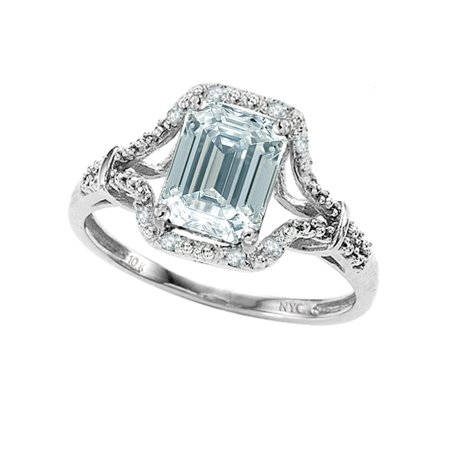 8x6mm Emerald Cut Genuine Aquamarine Ring