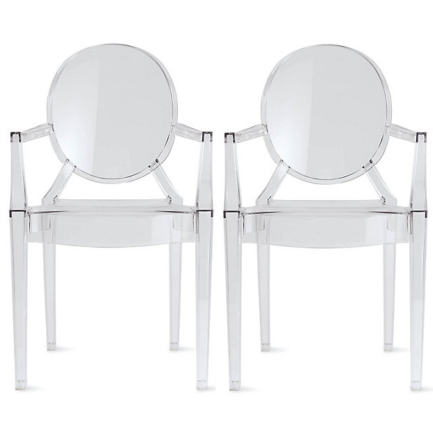 2xhome - Set of 2 (Two) Clear Modern Ghost Chair Armchair with Arm Polycarbonate Plastic Acrylic Clear