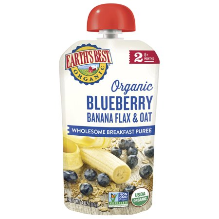 Earth's Best Organic Stage 2, Blueberry Banana Flax & Oat, 4.2 Ounce Pouch (Pack of