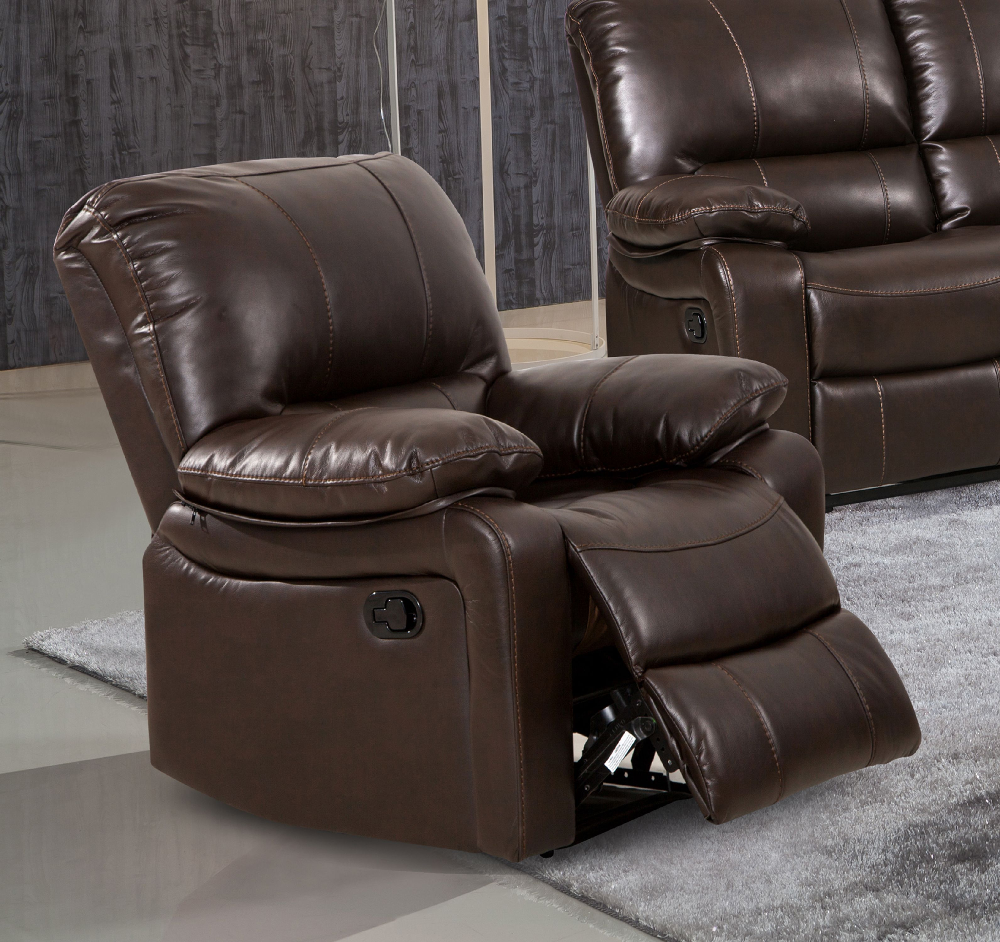 evelyn dark brown leather gel reclining rocking chair - Recliner Chair
