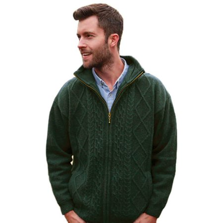 Tie Front Wool Sweater - Traditional Irish Wool Sweater for Men, Full Zip, Front Pockets, Green, Smal