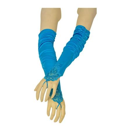 Girls Adult Multi Color Fingerless Pleaded Satin Lace Flower Girl Gloves