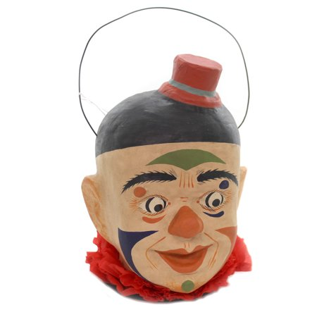 Vintage Paper Mache Halloween Decorations (Halloween FRIGHTFUL CLOWN Paper Mache Retro Vintage Circus Scary)