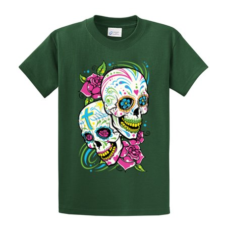 - Skull T-Shirt Sugar Skull With Floral Design
