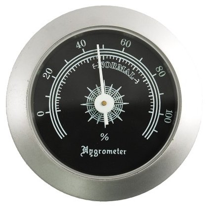 Silver Round Analog Hygrometer with Black Face
