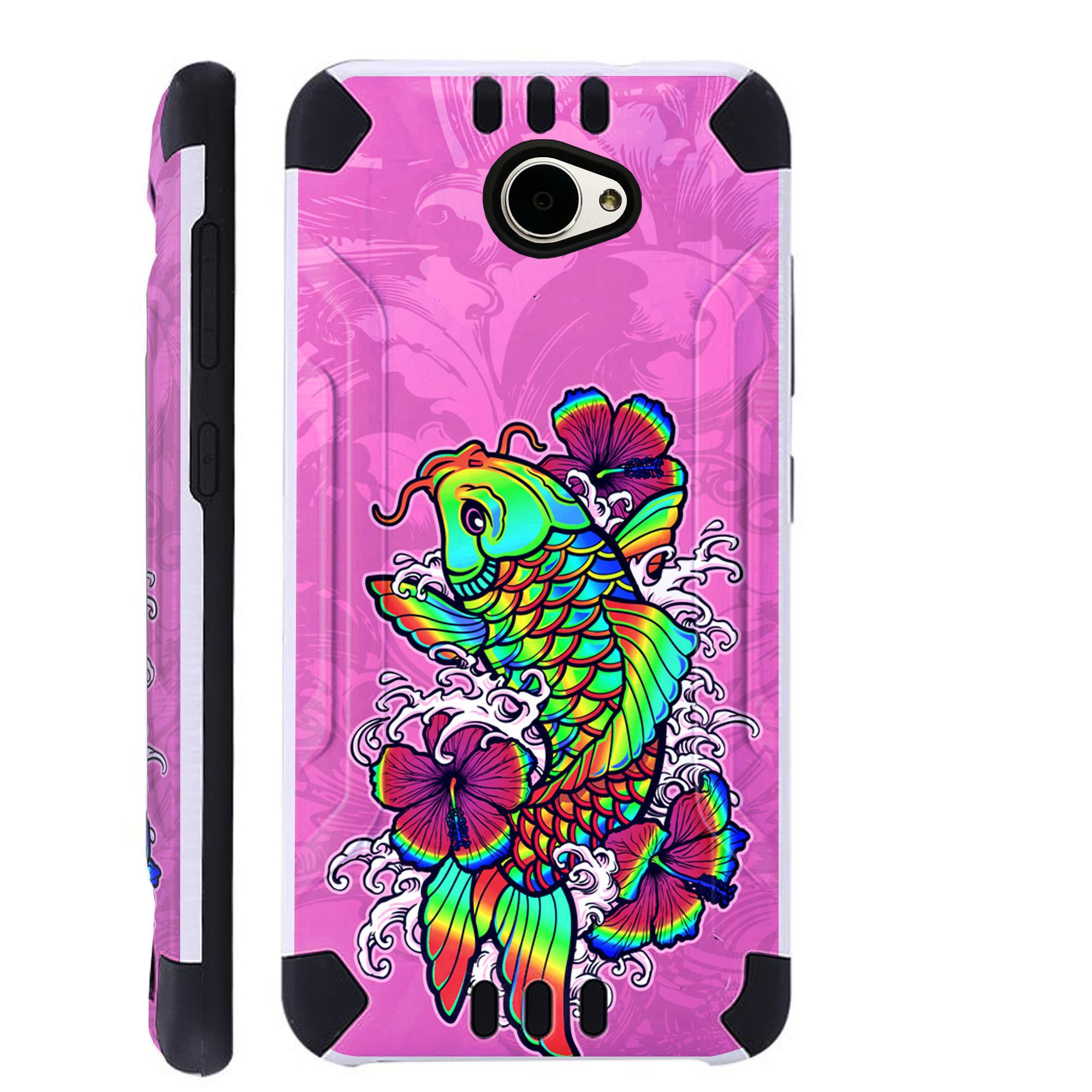 For Huawei Ascend XT2 / Huawei Ascend XT 2 / Huawei Elate 4G Case Brushed Metal Texture Hybrid TPU KombatGuard Phone Cover (Rainbow Koi Fish)