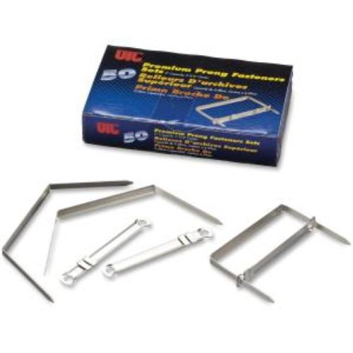 """Oic 2"""" Premium Prong Fasteners Set - 2"""" Size Capacity - For Paper, Document, File, Folder - Heavy Duty, Corrosion Resistant, Durable, Strong - 50 / Box - Silver - Steel, Steel (oic-99711)"""