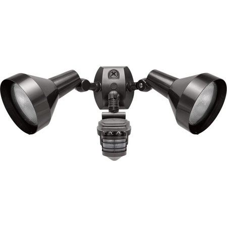 RAB Lighting STL360H Super Stealth 360 Sensor with Twin Precision Die Cast H101 Deluxe Shielded Bell Floods, 360 Degrees View Detection, Bronze Color rab lighting outdoor flood light