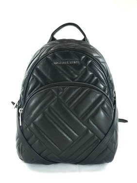 f61597583d86 Product Image NEW WOMENS MICHAEL KORS ABBEY MEDIUM BLACK GEO QUILTED LEATHER  BACKPACK BAG