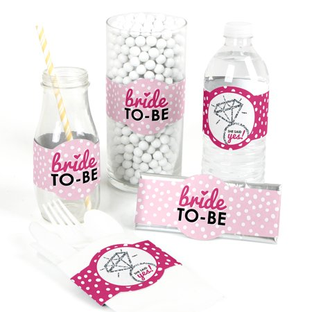 Bride-To-Be - DIY Bridal Shower & Bachelorette Party Wrappers - Classy Bachelorette Party Decorations - Set of 15