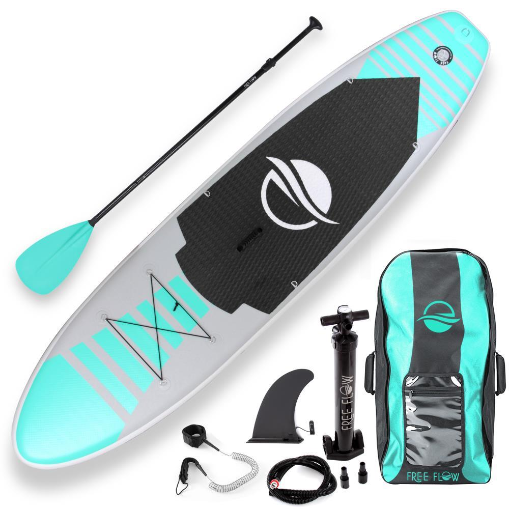 SereneLife Premium Inflatable Stand Up Paddle Board (6 Inches Thick) w/ SUP Accessories And Carry Bag | Wide Stance, Bottom Fin for Paddling, Surf Control, Non-Slip Deck Youth And Adult Standing Boat