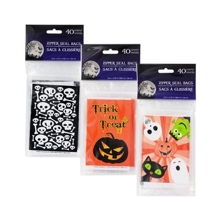 Halloween Treat Bags with Zip Seal 40 Pc Choose From 3 Bags - Halloween Treats Goody Bags