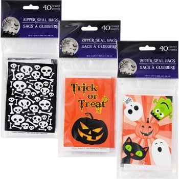 Halloween Treat Bags with Zip Seal 40 Pc Choose From 3 Bags Design - Halloween Snack Bag Labels