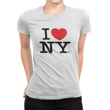 I Love NY New York Womens T-Shirt Spandex Tee Heart White Medium