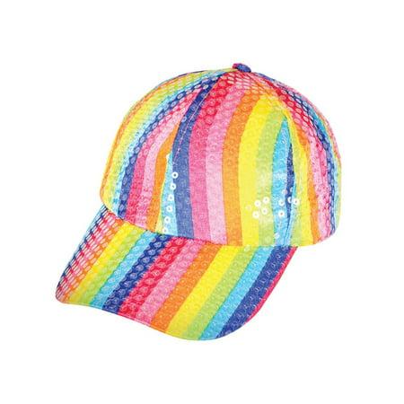 Funky Pride Colorful Retro Rainbow Costume Sequin Baseball Hat Cap (Funky Halloween Hats)