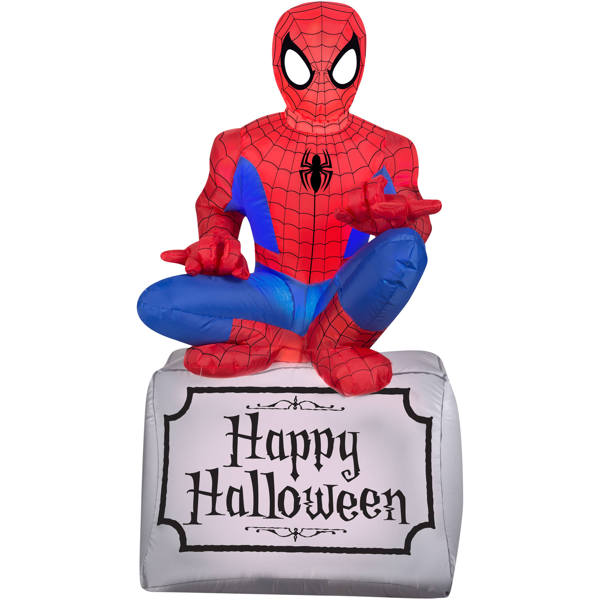 Gemmy Airblown Inflatable 3.5' X 2' Spider-Man On Tombstone Halloween Decoration