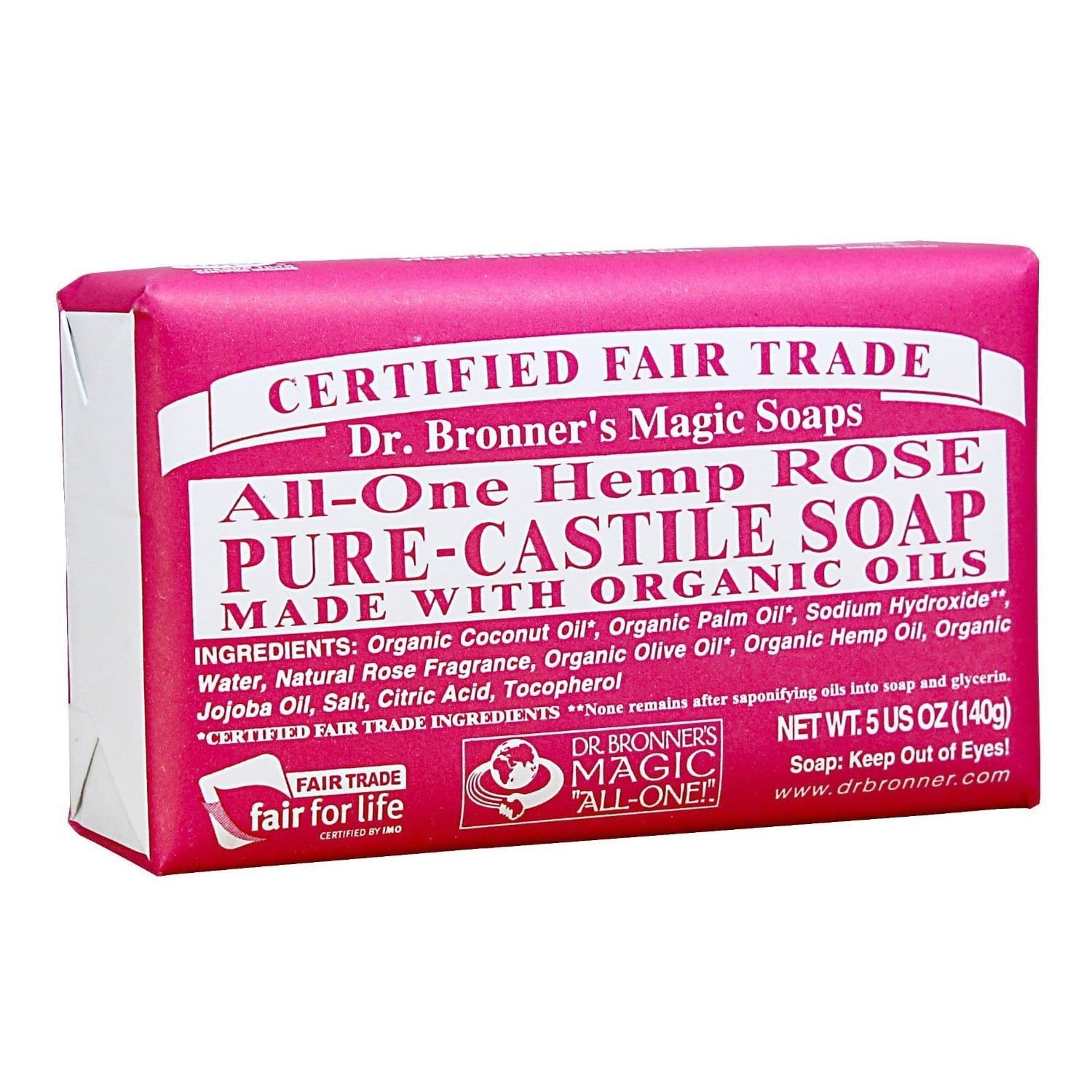 Dr. Bronners  Magic Pure-Castile Organic Rose 5-ounce Bar Soap (Pack of 4)