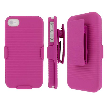iPhone 4S Pink Belt Clip Case, MPERO Collection 3 in 1 Tough Hot Pink Kickstand Case for Apple iPhone 4 /