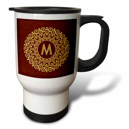 3dRose Monogram M tan and coffee mandala on warm chocolate muted grunge damask, Travel Mug, 14oz, Stainless Steel