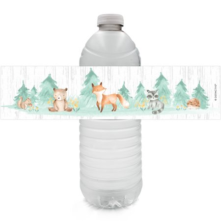 Woodland Baby Shower Water Bottle Labels 24ct - Woodland Creatures Party Supplies Decorations - 24 Count - Party Supplies For Baby Shower