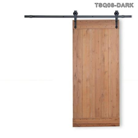 Direct Vertical Door (36 in. x 84 in. Vertical Slat Primed Wood Finish Sliding Barn Door with Sliding Door Hardware Kit TSQ08-Dark )