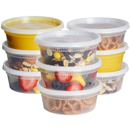 Plastic Storage Containers With Lids (Comfy Package 8 oz. [48 Pack] Plastic Deli Food Storage Containers with Airtight)