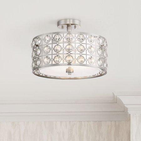 Possini Euro Design Modern Ceiling Light Semi Flush Mount Fixture Brushed Nickel 16