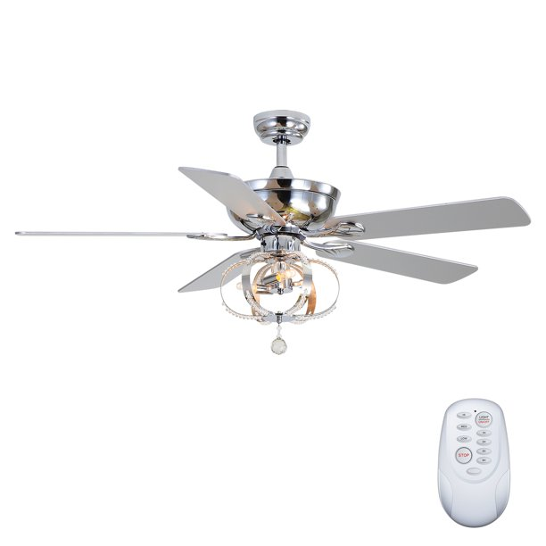 Ceiling Fan With Light And Remote Control 52 Crystal Outdoor Ceiling Fan With 5 Blades And 3 Speed Reversible Motor Low Profile Ceiling Fan Chrome Color Ja3817 Walmart Com Walmart Com