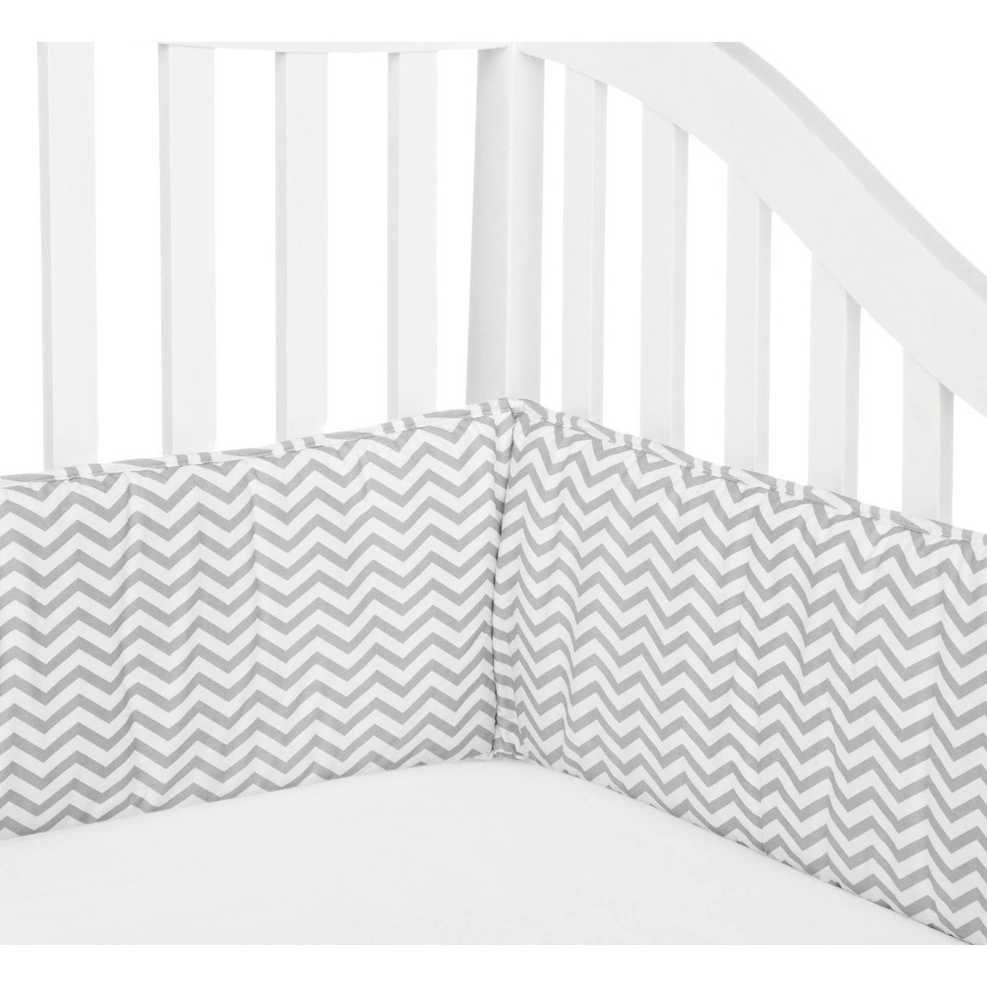 TL Care Cotton Percale Crib Bumper, Grey Zigzag