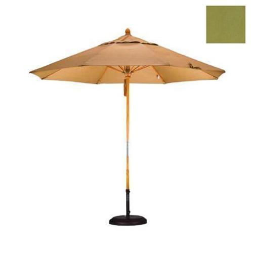 9' Fiberglass Market Umbrella Pulley Open Marenti Wood/Olefin/Kiwi