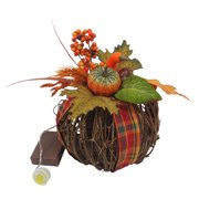 Harvest 7``Twig Pumpkin - Plaid
